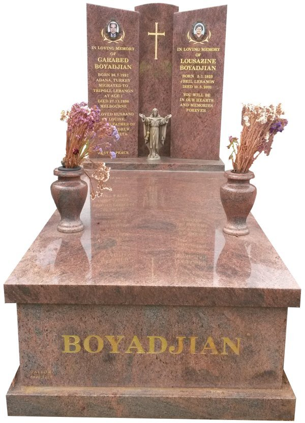 Granite Memorial Headstone In Red Multi Colour Indian Granite for Garabed and Lousazine Boyadjian at Springvale