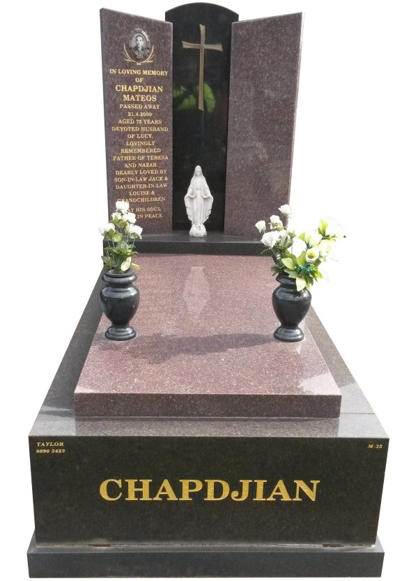 Granite Memorial Headstone In Silver Pearl Black and Rose Red Indian Granite for Chapdjian at Springvale.