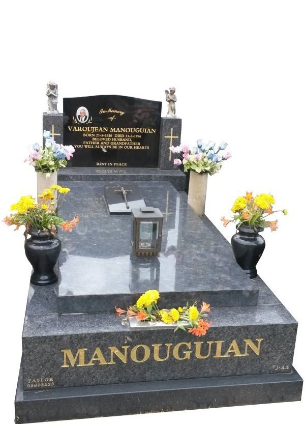 Granite Memorial Headstone In Steel Grey and BG Black Indian Granite for Varojean Manouguian at Springvale.