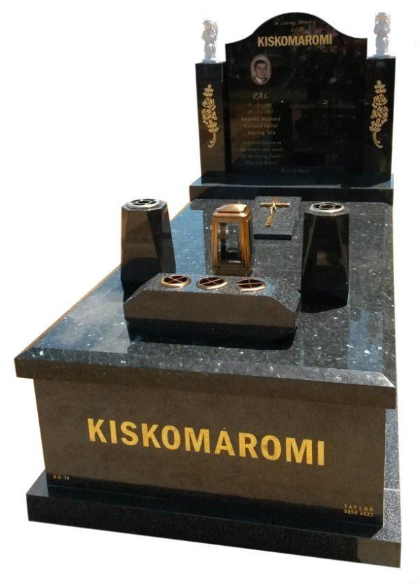 Granite memorial in Emerald Pearl and Regal Black (Dark) Indian Granite for Kiskomaromi at Springvale Botanical Cemetery