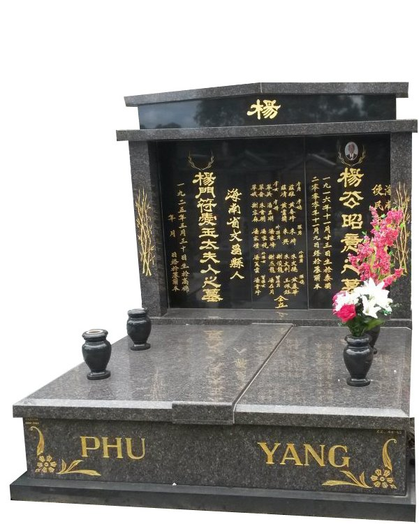 Granite Memorial in New Mahogany and Royal Black Indian Granite for Phu and Yang at Springvale Botanical Cemetery
