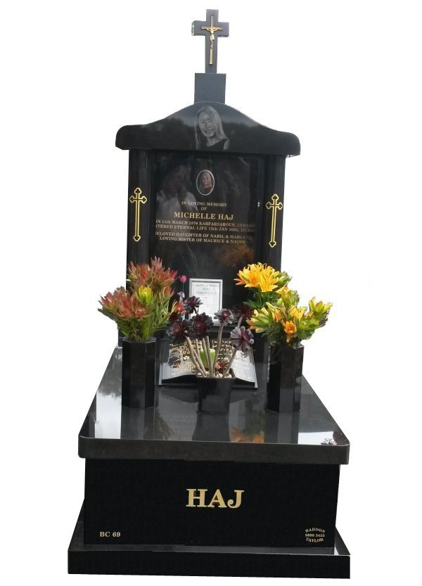 Granite Memorial in Royal Black Indian Granite for Haj at Springvale Botanical Cemetery