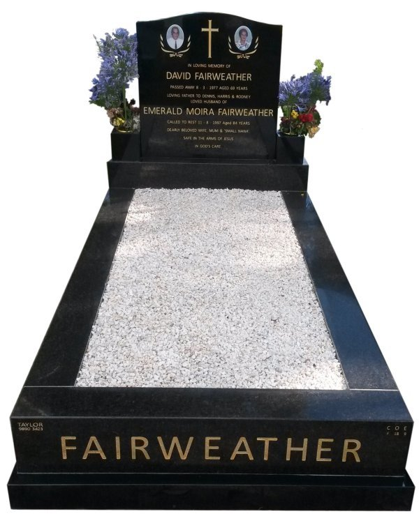Granite memorial in Silver Pearl Black and B G Black Indian Granite for Fairweather at Springvale Botanical Cemetery