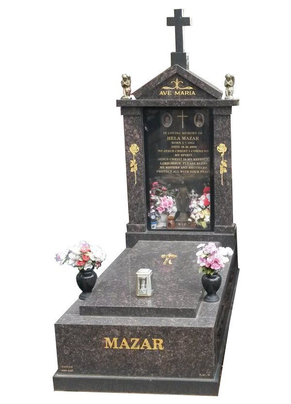 Granite Memorial in Tan Brown and Royal Black Indian Granite for Mazar at Springvale Botanical Cemetery