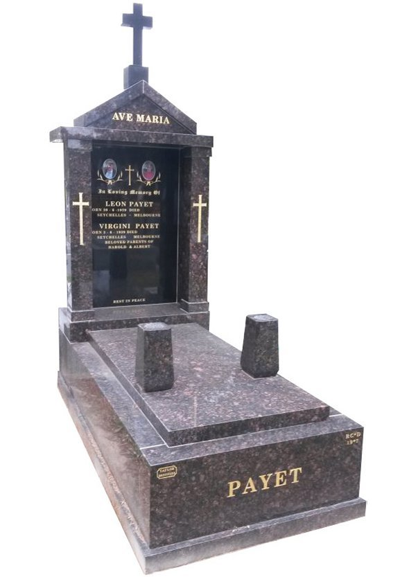 Granite Memorial in Tan Brown and Royal Black Indian Granite for Payet at Springvale Botanical Cemetery