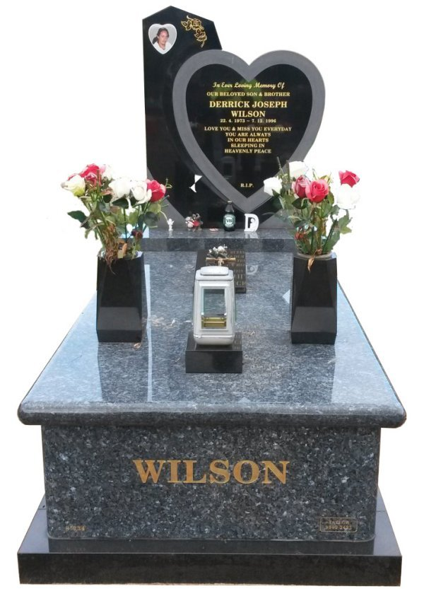 Granite Monument in Blue Pearl and B G Black Indian Granite for Wilson at Crib Point Cemetery