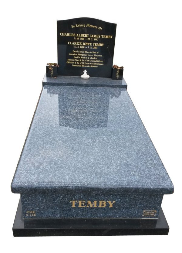 Granite Monument in Blue Pearl and Royal Black Indian Granite for Temby at Crib Point Cemetery