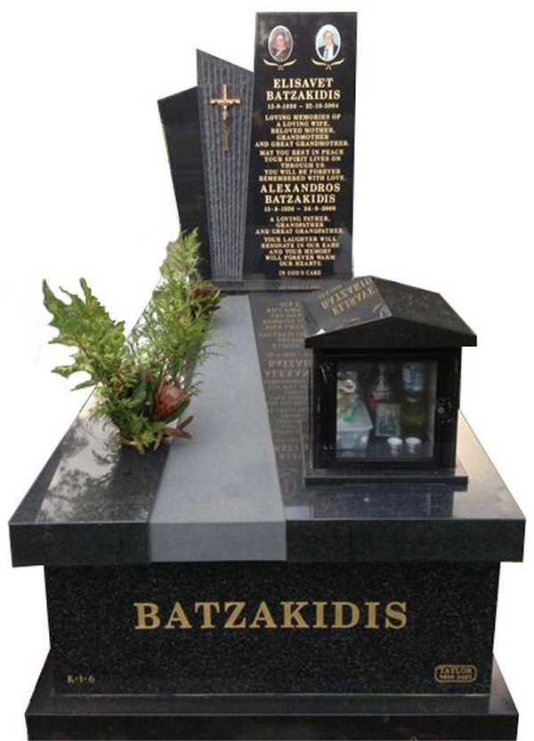Granite Monument in Regal Black (Dark) and BG Black Indian Granite for Batzakidis at Springvale Botanical Cemetery