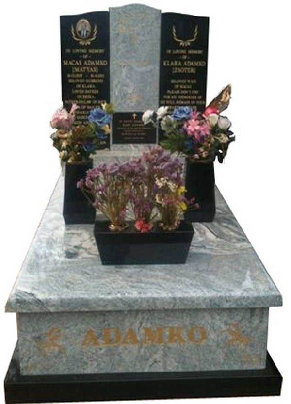 Granite Monument in Viscon White and Royal Black Indian Granite for Adanko at Springvale Botanical Cemetery