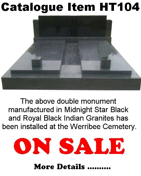 Gravestone Catalogue Item HT104 Monument Headstone in Midnight Star Black and Royal Black Indian Granite