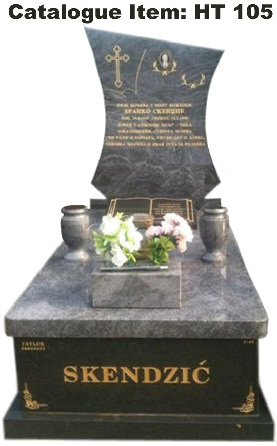 Gravestone Catalogue Item HT105 Monument Headstone in Bahama Blue and Regal Black (Dark) Indian Granite