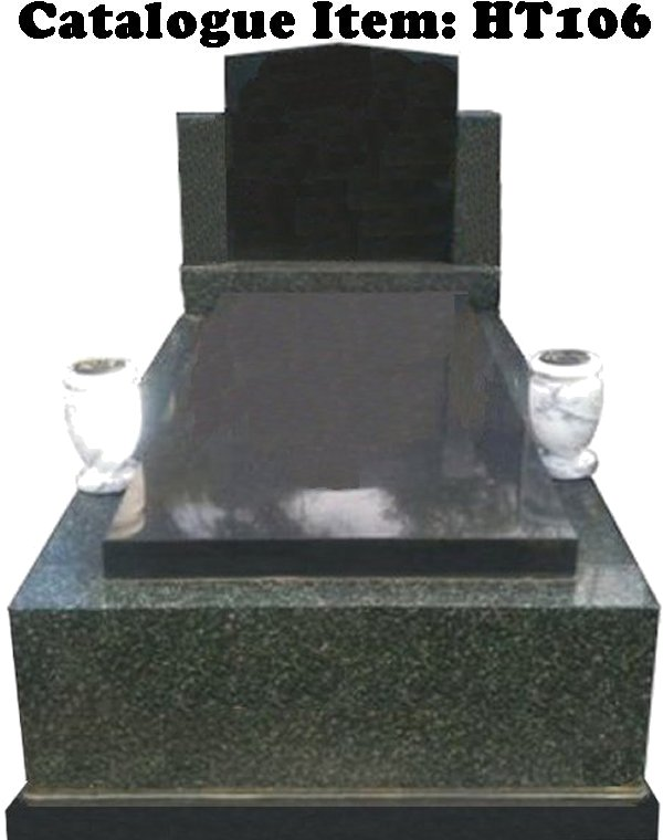 Gravestone Catalogue Item HT106 Monument Headstone in Midnight Star Black and Royal Black Indian Granite