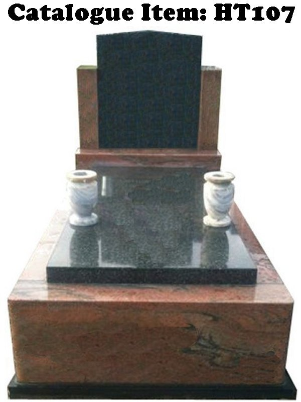 Gravestone Catalogue Item HT107 Monument Headstone in Multicolour Red and Regal Black (Dark) Indian Granite