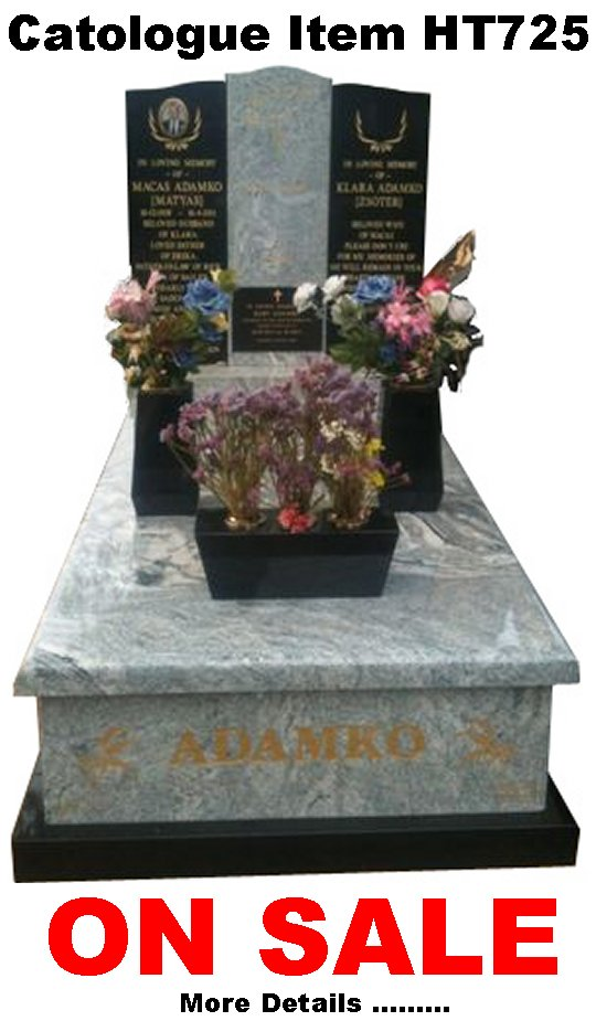 Gravestone Catalogue Item HT725 Monument Headstone in Viscon White and Royal Black Indian Granite