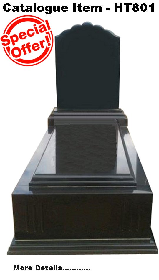 Gravestone Catalogue Item HT801 Monument Headstone in Royal Black Indian Granite