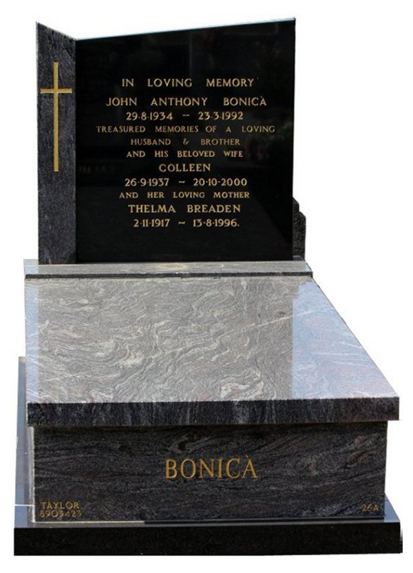 Gravestone Memorial and Full Monument Headstone in Paradiso and Royal Black Indian Granite for Bonica at Burwood Cemetery