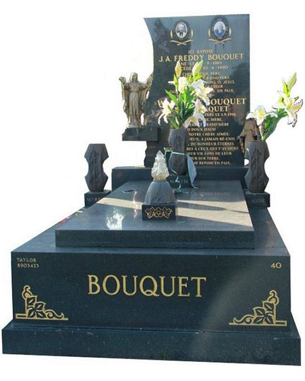Gravestone Memorial and Full Monument Headstone in Regal Black (Dark) Indian Granite for Bouquet at Springvale Botanical Cemetery