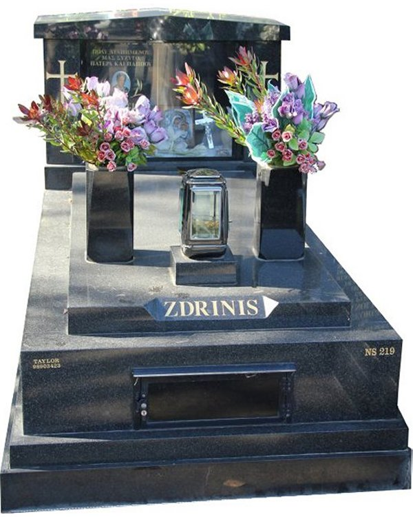 Gravestone Memorial and Full Monument Headstone in Regal Black (Dark) Indian Granite for Zdrinis at Box Hill Cemetery