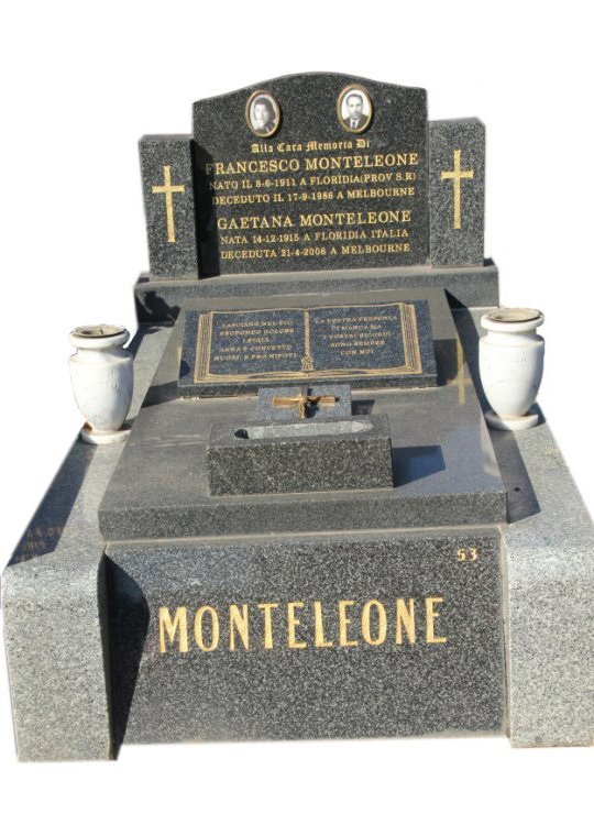 Harcourt Grey and Grandee Black Australian Granite Tombstone for Monteleone in Box Hill Graveyard