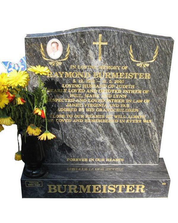 Headstone Cemetery Memorial in Platinum Blue Indian Granite for Burmeister at Springvale Botanical Cemetery
