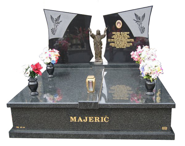 Headstone over Double Monument in Regal Black (Dark) for Majeric at Springvale Botanical Cemetery