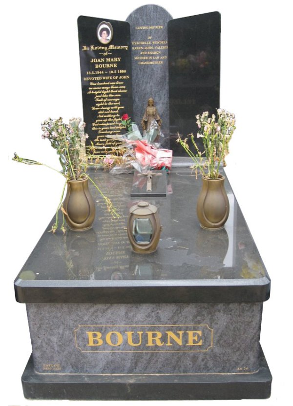 Memorial headstone over full monument in Bahama Blue and Royal Black for Bourne at Springvale Botanical Cemetery