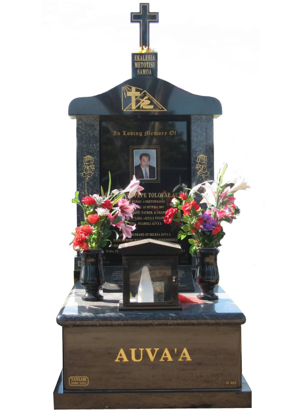 Memorial headstone over full monument in Blue Pearl and Royal Black for Auva'A at Werribee Cemetery.