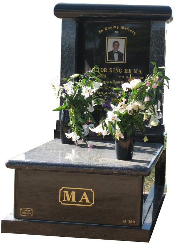 Memorial headstone over full monument in Blue Pearl and Royal Black for Victor King He Ma at Werribee Cemetery