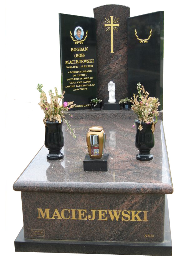 Memorial headstone over full monument in Dakota Mahogany and Royal Black for Maciejewski at Springvale Botanical Cemetery