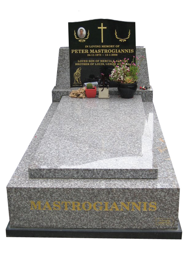 Memorial headstone over full monument in Oceanic Grey and Royal Black for Mastrogiannis at Springvale Botanical Cemetery