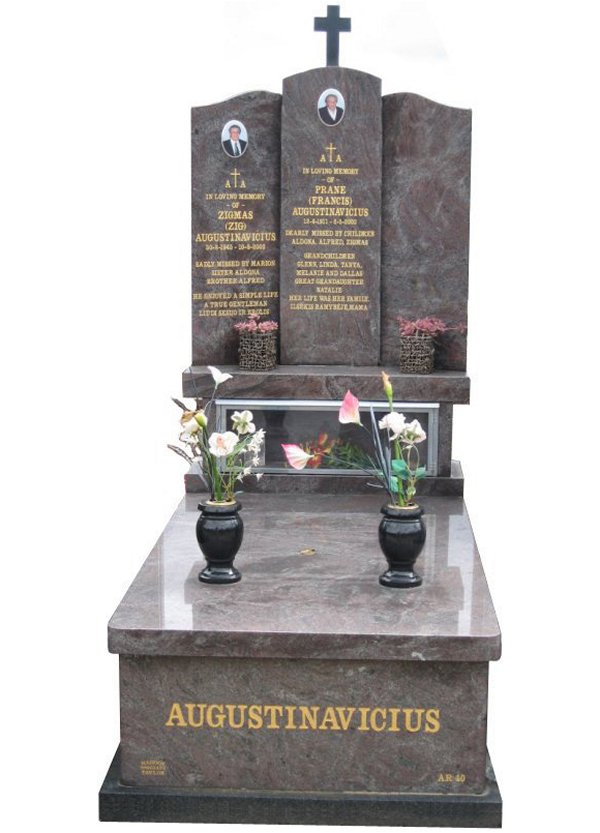 Memorial headstone over full monument in Paradiso and Royal Black for Augustinavicius at Springvale Botanical Cemetery.