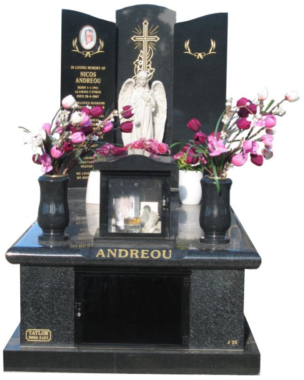 Memorial headstone over full monument in Regal Black (Dark) and Royal Black for Andreou at Springvale Botanical Cemetery