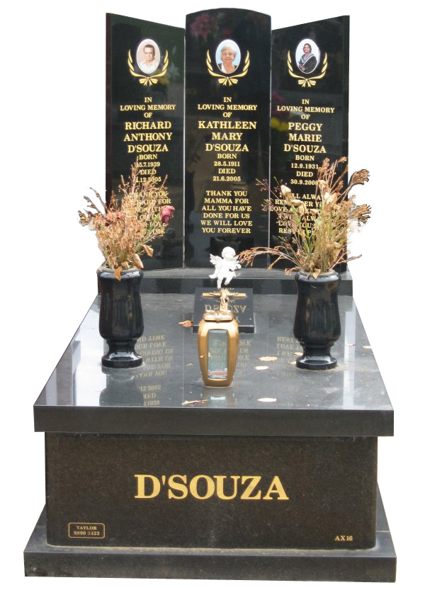 Memorial headstone over full monument in Regal Black (DarK) and Royal Black for D'Souza at Springvale Botanical Cemetery