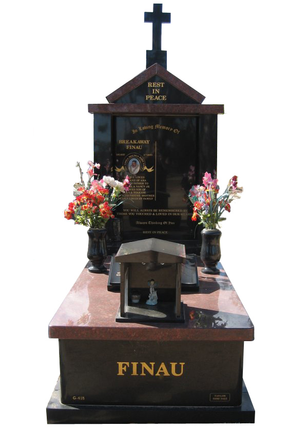 Memorial headstone over full monument in Ruby Red and Royal Black for Finau at the Werribee Cemetery