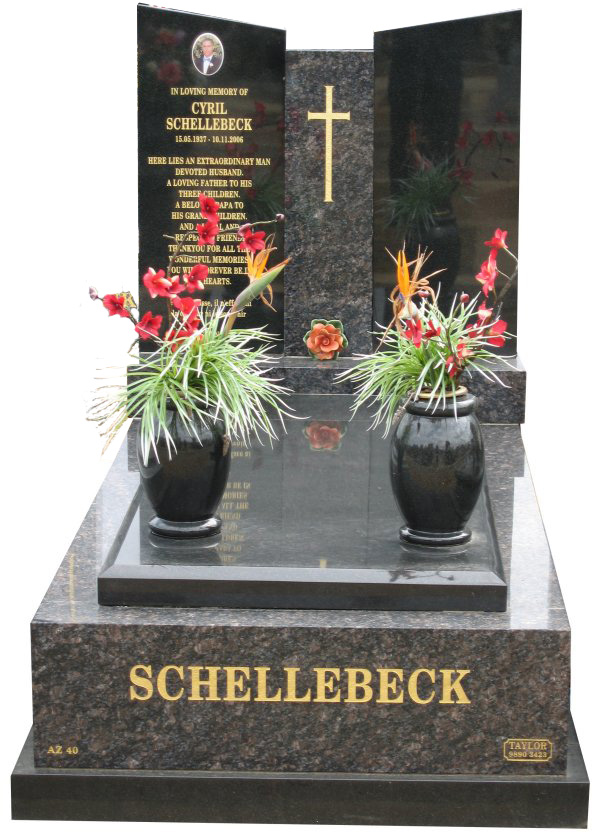 Memorial headstone over full monument in Sapphire Brown and Royal Black for Schellebeck at Springvale Botanical Cemetery