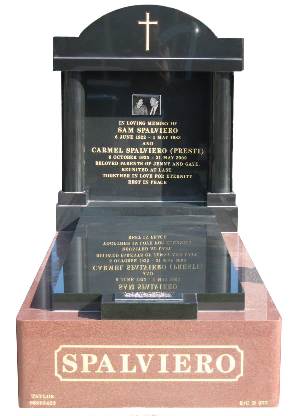 Memorial headstone over full monument in Sentinel Red and Royal Black for Spalviero at Werribee Cemetery