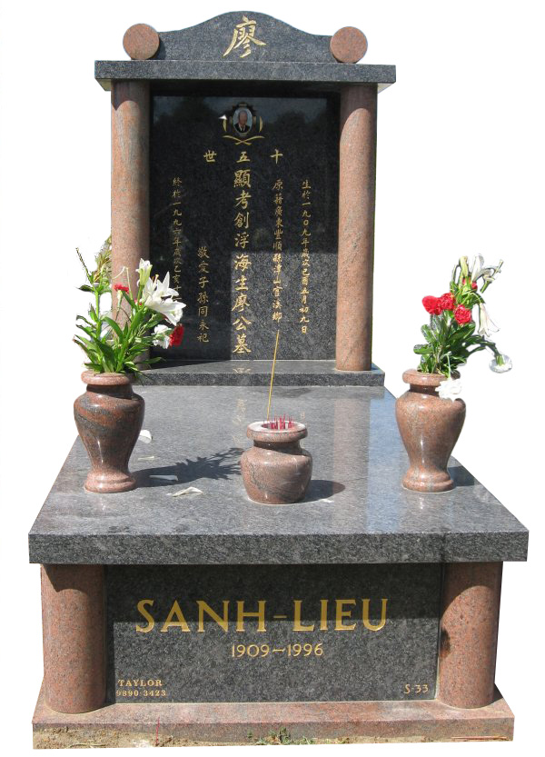 Memorial headstone over full monument in Steel Grey and Multicolour Red for Sanh-Lieu at Springvale Botanical Cemetery
