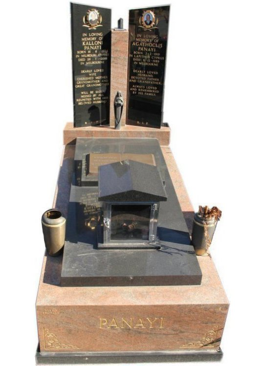 Tombstone, built in Multicolour Red and Royal Black Indian granite for Panayi in the Box Hill graveyard.
