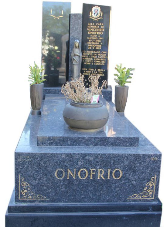 Tombstone, built in Sapphire Brown and Royal Black Indian granite for Vincento Onofrio in the Box Hill graveyard.