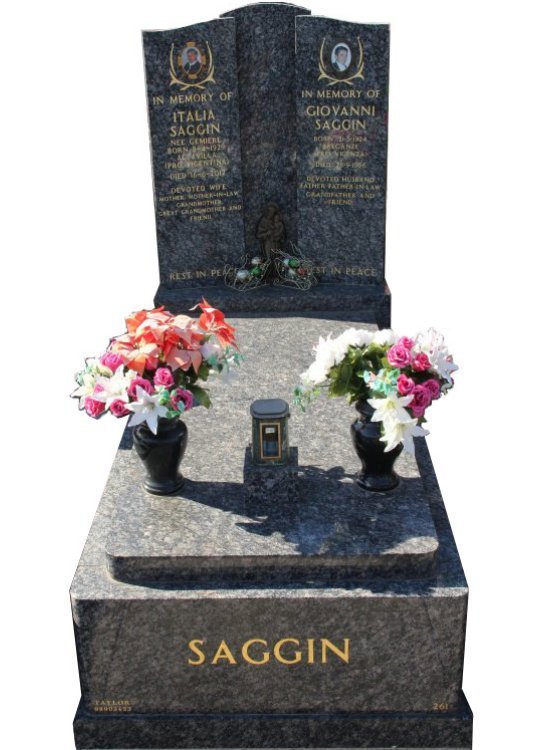 Tombstone, built in Sapphire Brown Indian granite for Saggin in the Box Hill graveyard.